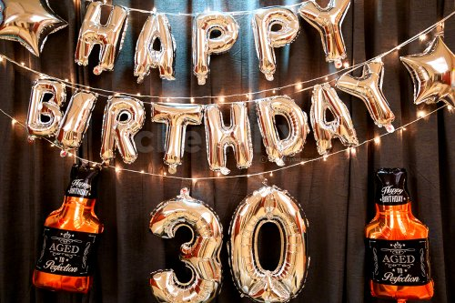 Includes Happy Birthday, Number and Whiskey Foil Balloons