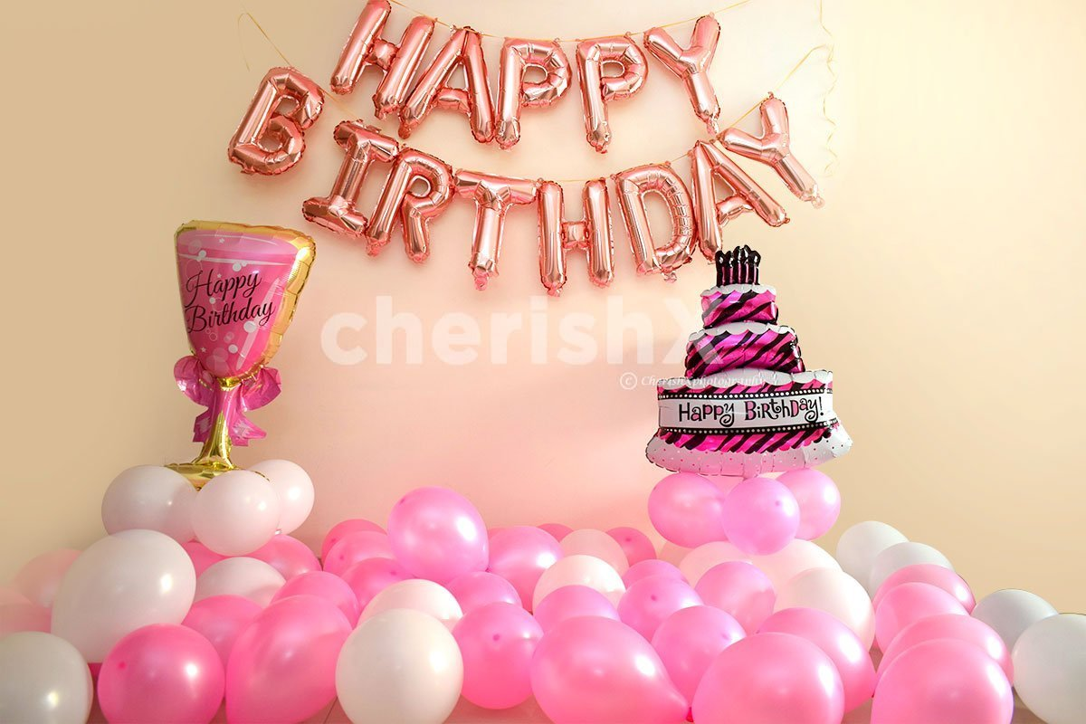 Birthday Decorations with Balloons in Pink & Rosegold Colors