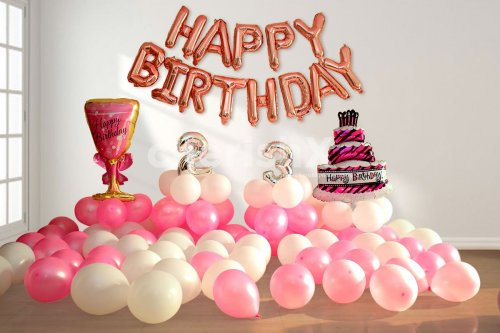 Wine and Cake Pink Color Big Foil Balloons