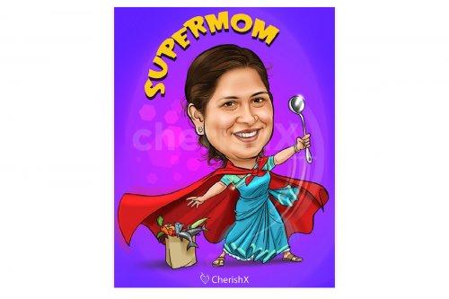 Personalised Supermom Caricature