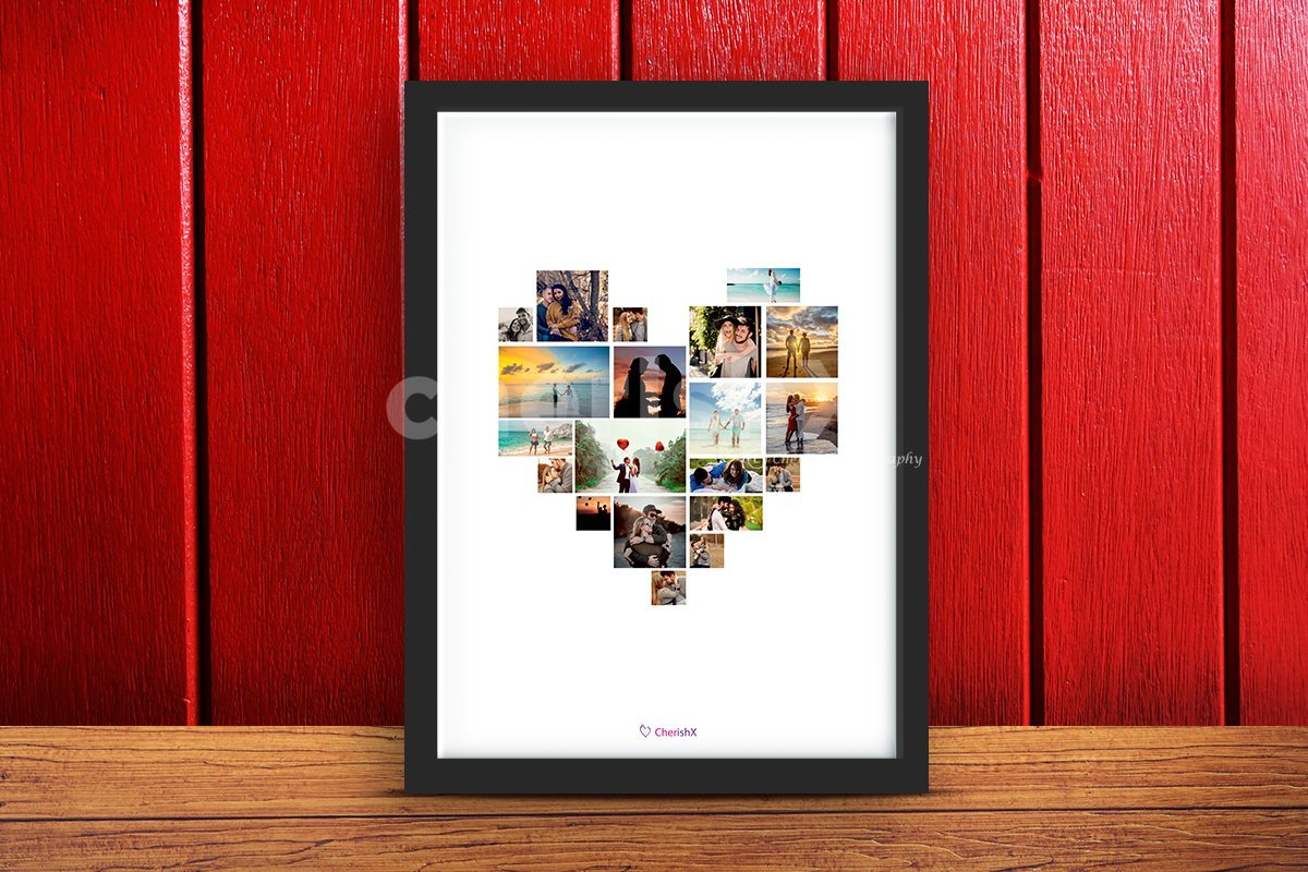 Digital heart collage frame