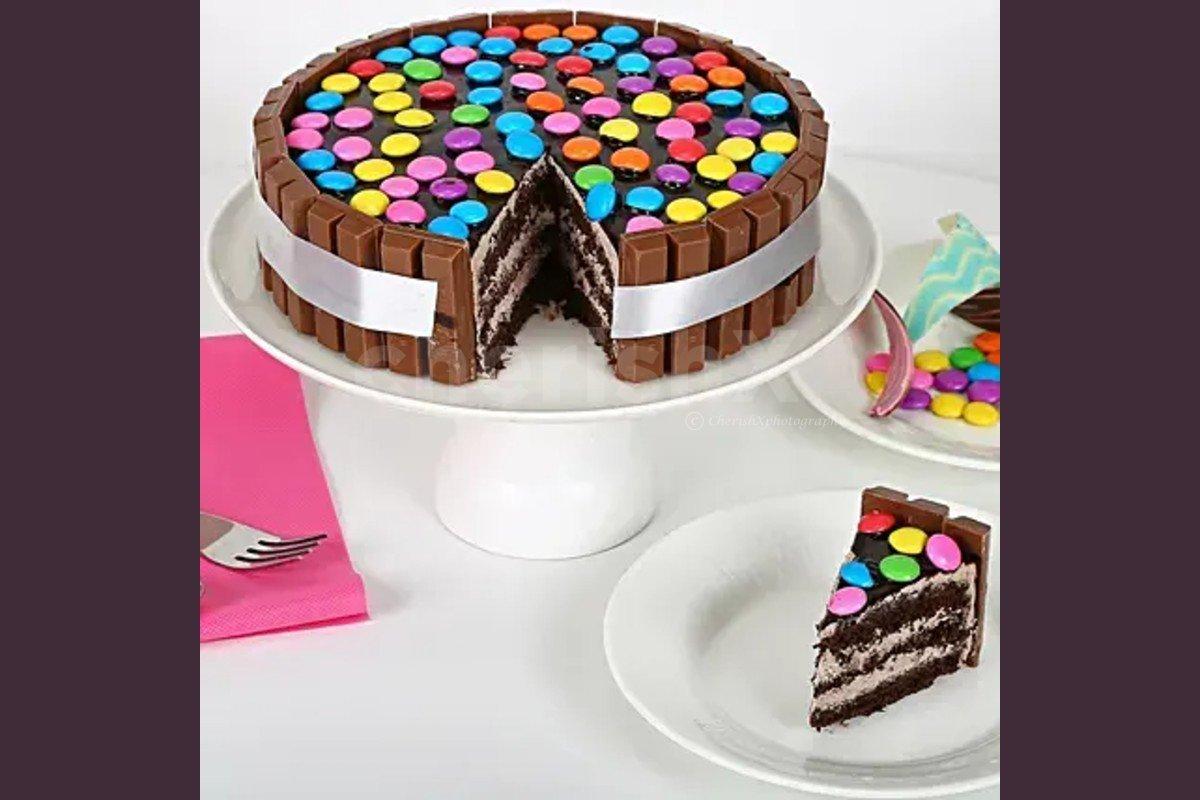 Kitkat gems cake by Cherishx