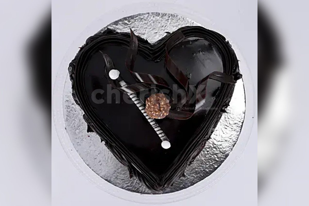 500 gm Heart shape chocolate truffle cake by cherishx