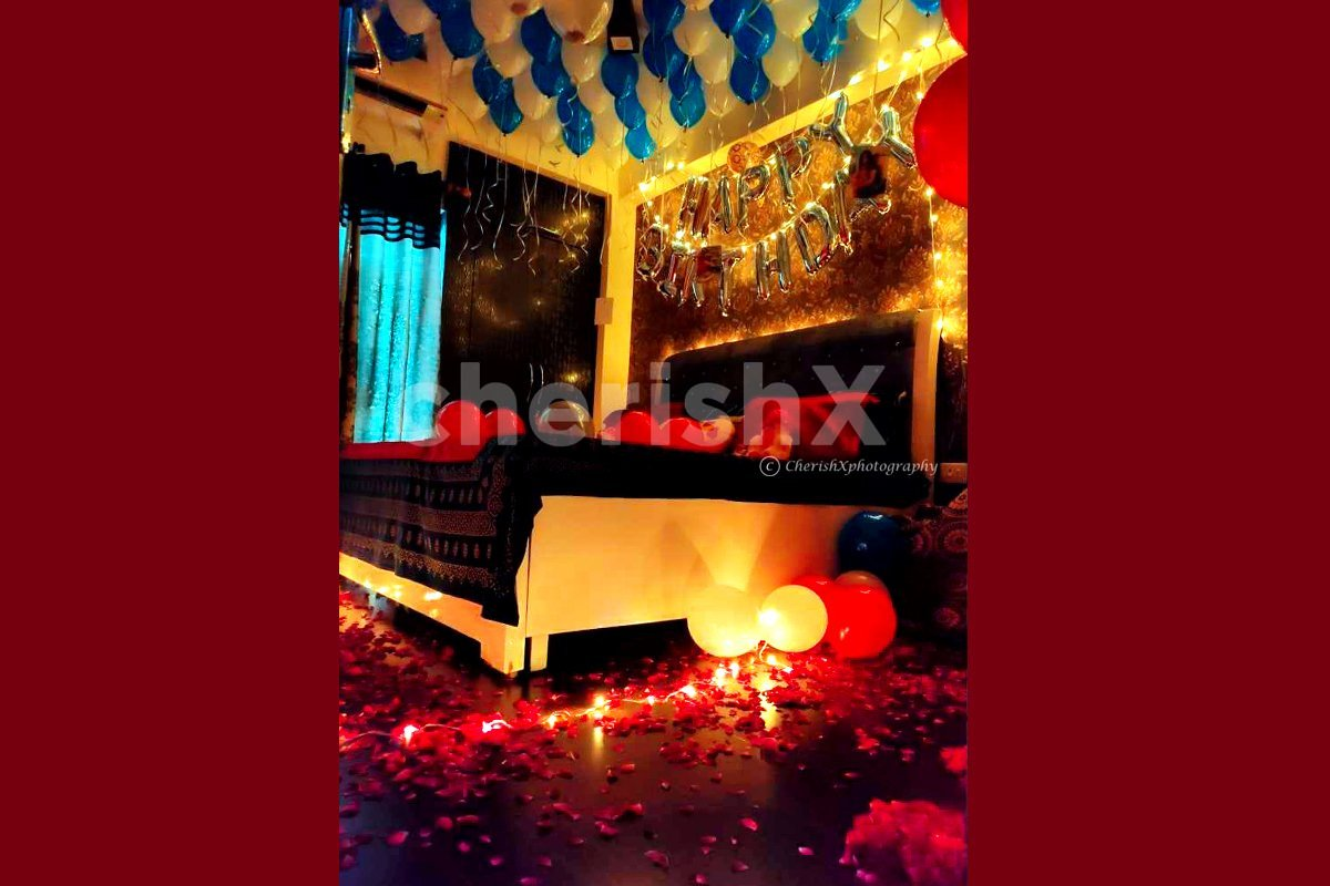 Birthday Balloon Decoration with 100 Balloons and Happy Birthday Letter Balloons