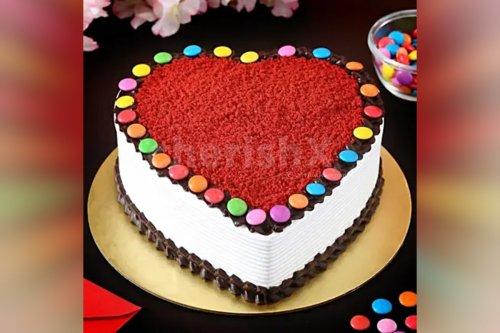 Heart Shape Red Velvet Gems Cake (Half Kg)