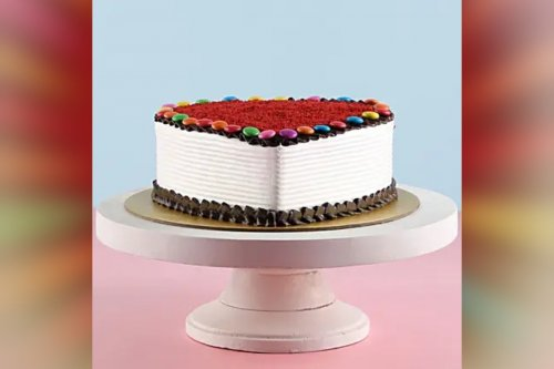 Special Red Velvet Gems cake delivery at home for birthdays, anniversary