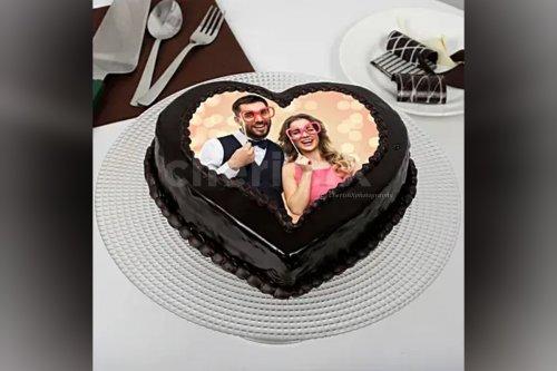 Heart Shape Chocolate Truffle Photo Cake (Half Kg)