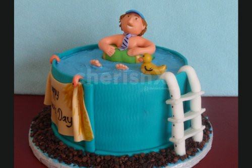 Fathers Day Pool designer fondant cake home delivery by cherishx