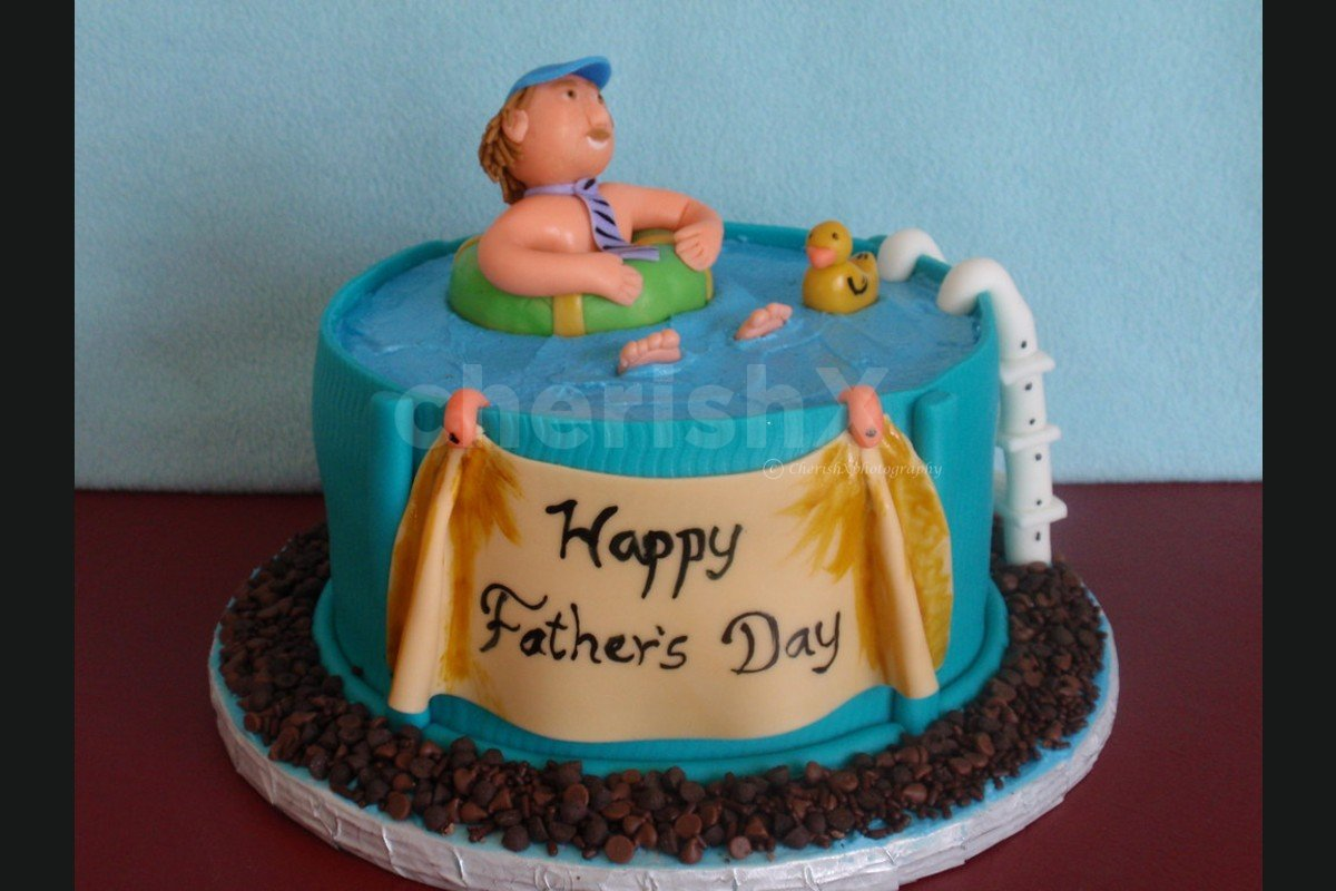 Fathers Day Pool designer fondant cake