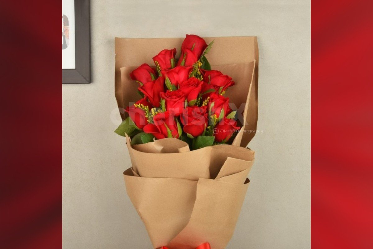 15 red roses bouquet in a special packing