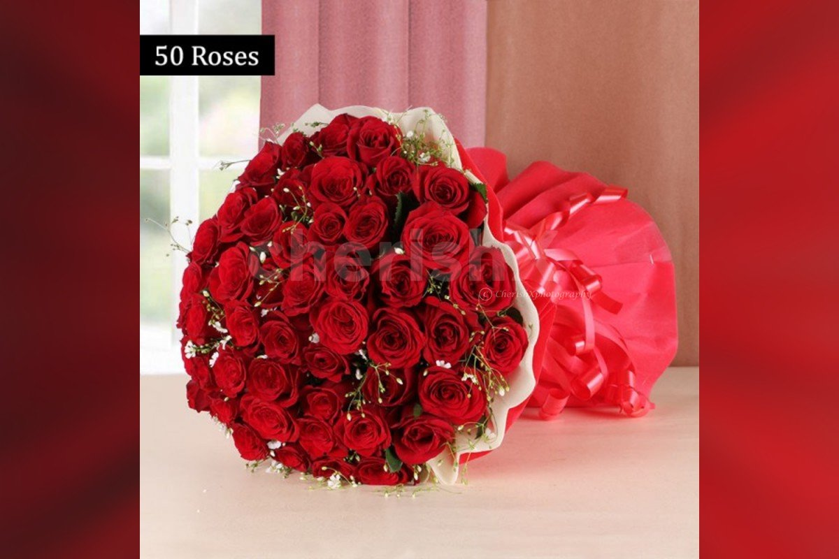 Buy 50 Red Roses Bouquet Online And Get Them Delivered For Free