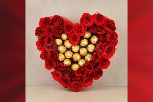 Red Roses & Ferrero Rocher Heart Arrangement