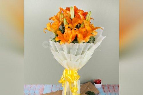 6 Asiatic Orange Lilies Bouquet
