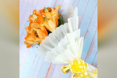 6 Asiatic orange lilies bouquet home delivery