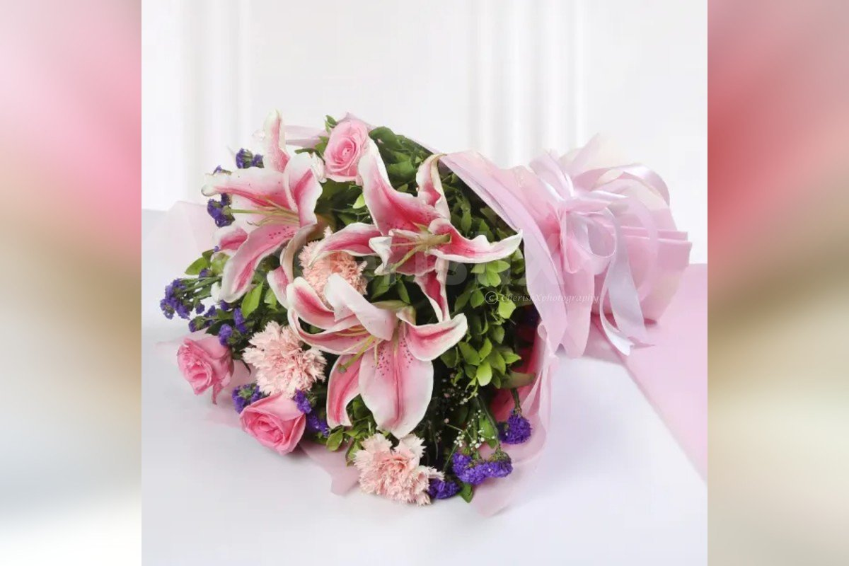 9 Mixed Pink Flowers Bouquet (Lilies, Roses, Carations) delivery by cherishx