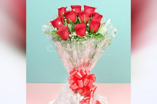 10 Red Roses Simple Bouquet