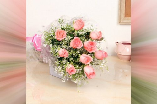 10 Pink Roses Simple Bouquet