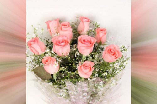 10 pink roses bouquet online delivery by cherishx