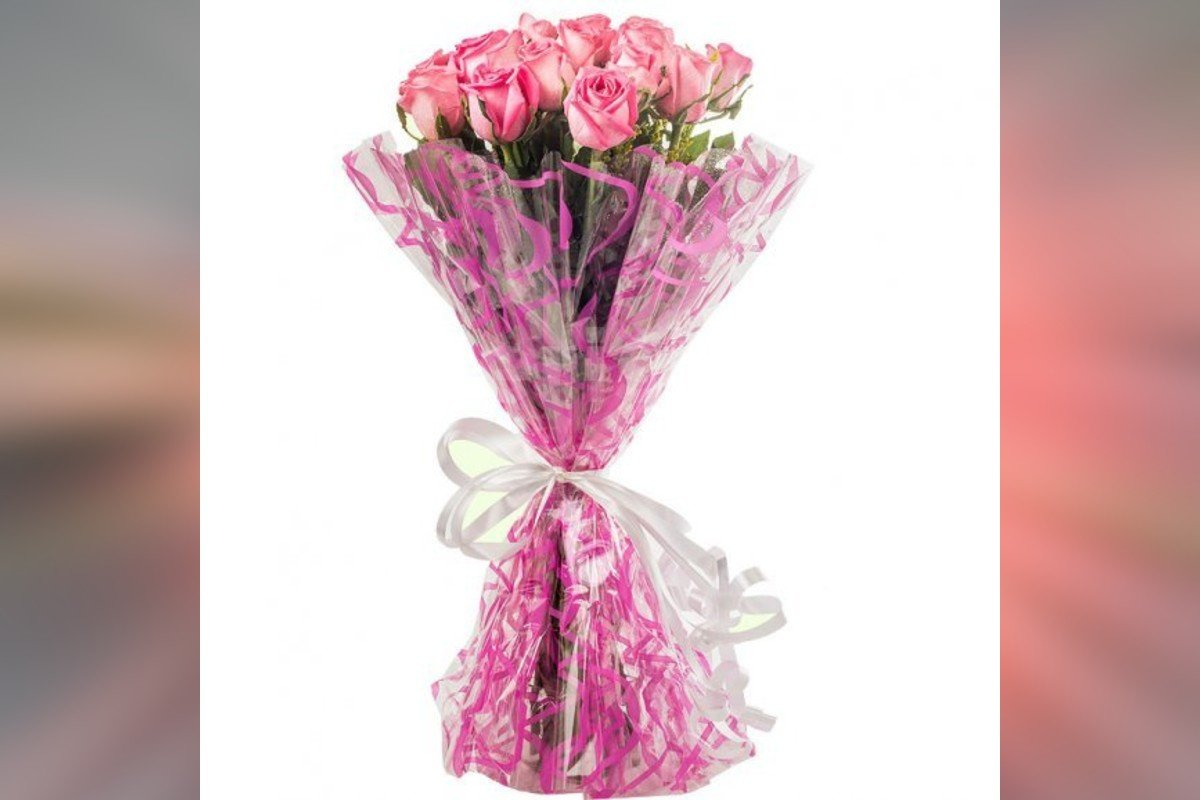15 pink roses simple bouquet