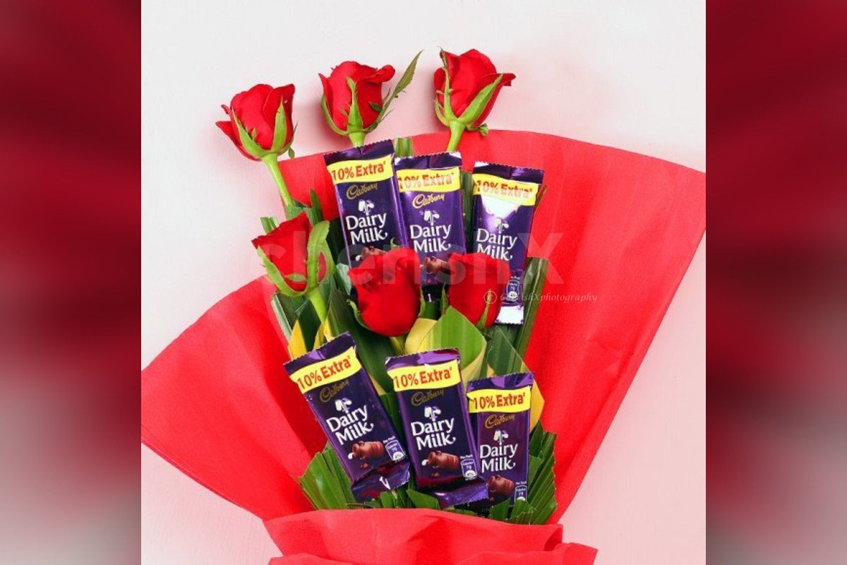 red rose and dairy milk bouquet online delivery