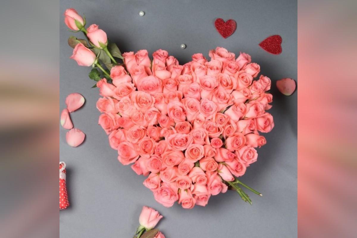 50 Pink Roses Heart Arrangement