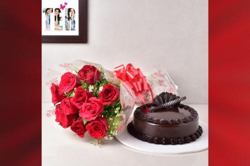 10 Red Roses & truffle cake