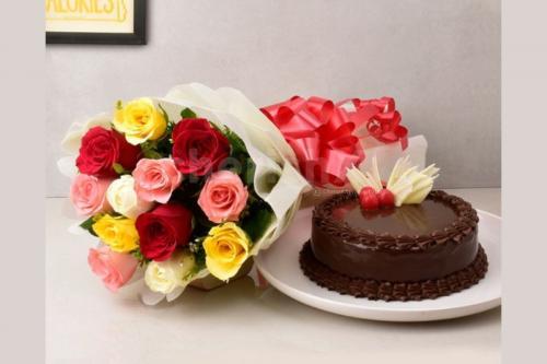 12 Mixed Roses & truffle cake