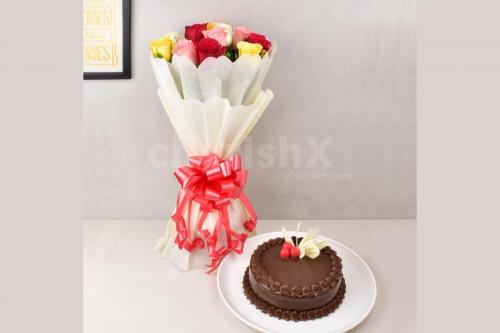 12 mixed roses and truffle cake combo home delivery
