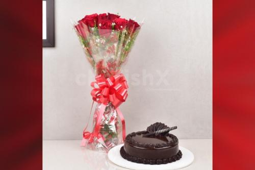 10 Red rose and chocolate truffle cake combo home delivery