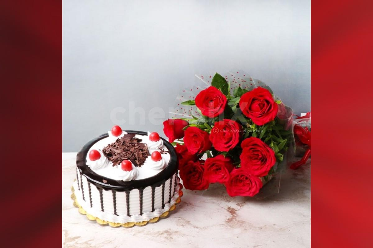 10 red rose bouquet and black forest cake