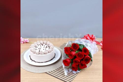 10 Red Roses & coffee cake
