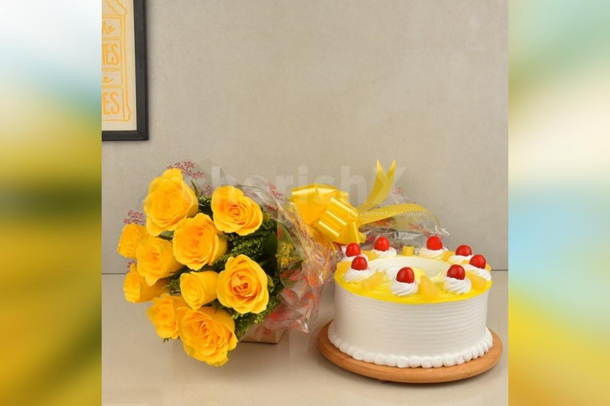 10 yellow roses and a pineapple cake