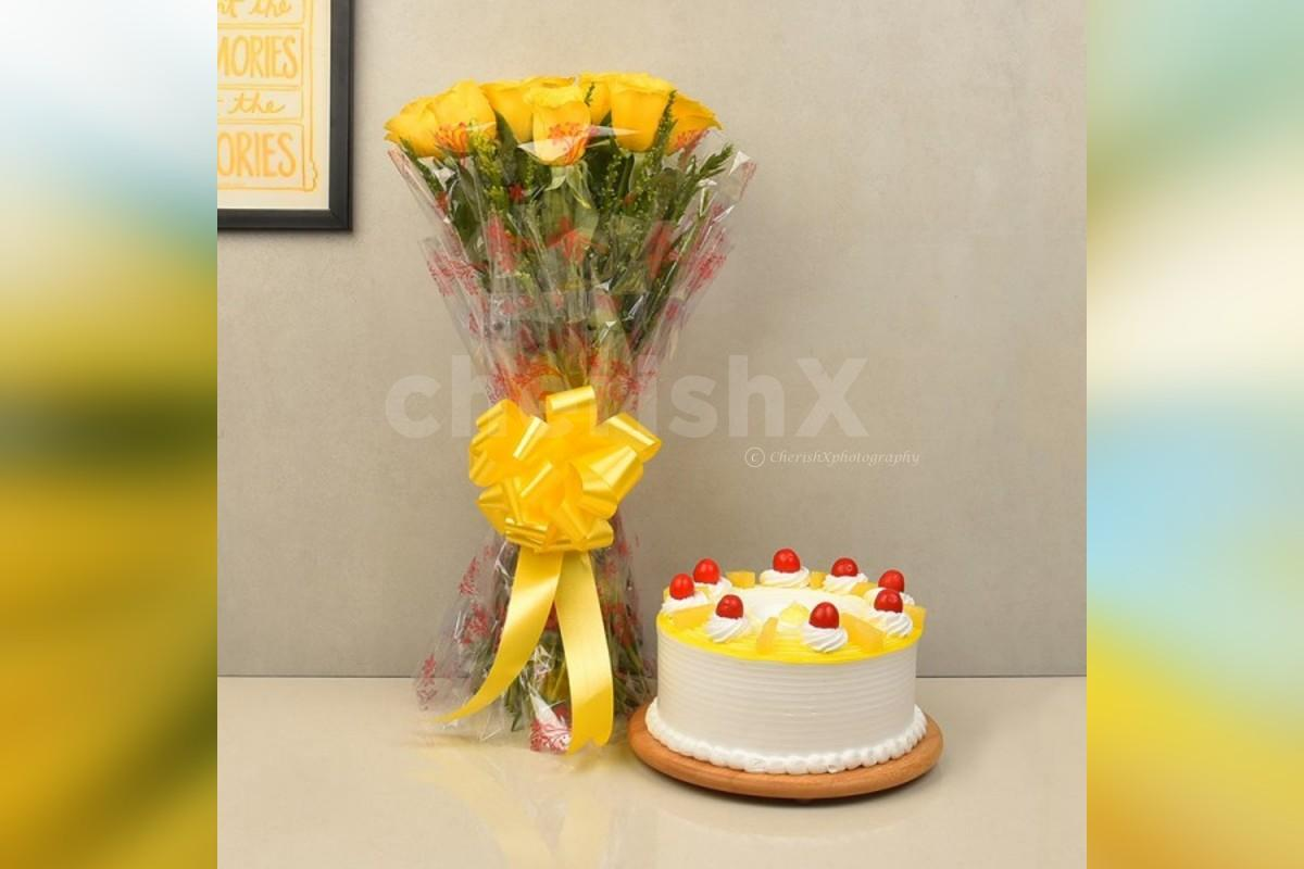 10 yellow roses and a pineapple cake home delivery
