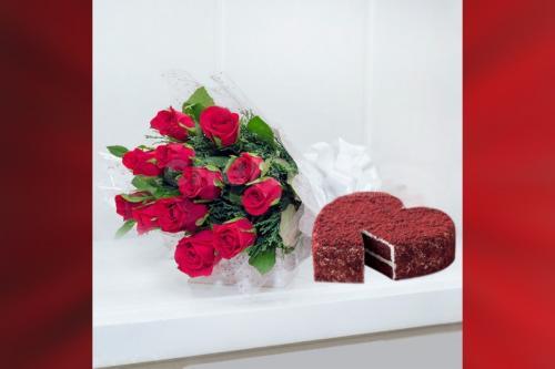 12 Red Roses & Heart Red Velvet cake