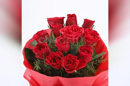 12 Red rose bouquet with 2 cake jars - red velvet and chocolate truffle flavors home delivery by cherishx