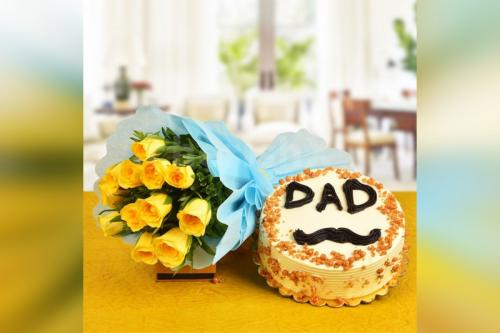 12 Yellow Roses & 'Dad' Butter scotch cake