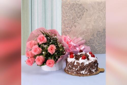 10 Pink Roses & Black Forest cake