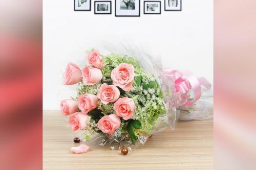 10 pink roses and chocolate truffle cake combo home delivery