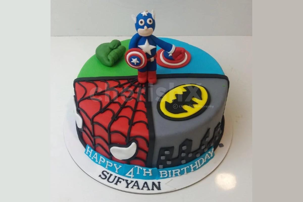 Superhero theme designer cake online delivery