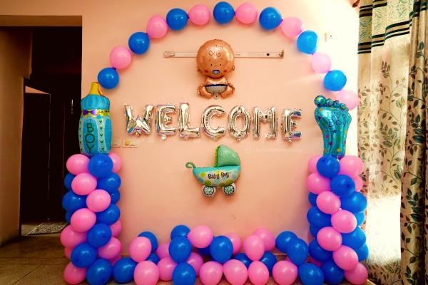 Welcome new born baby decoration at home