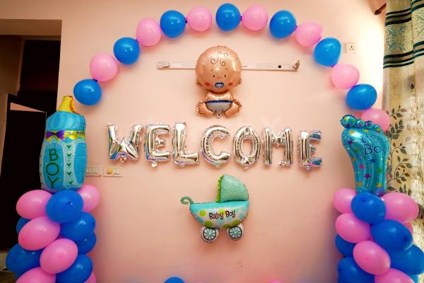 Welcome new born baby decoration at home by professional and hygienic decoration team