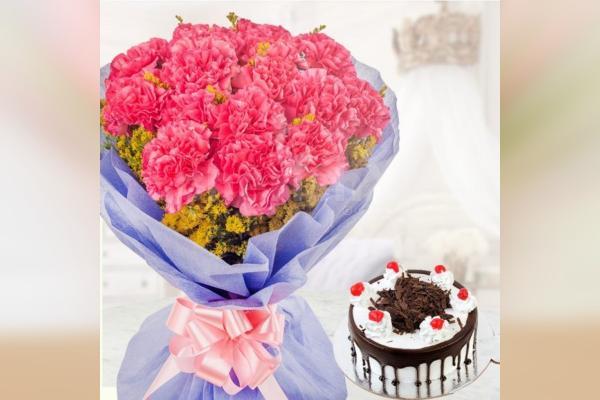 10 Pink Carnations & Black Forest cake