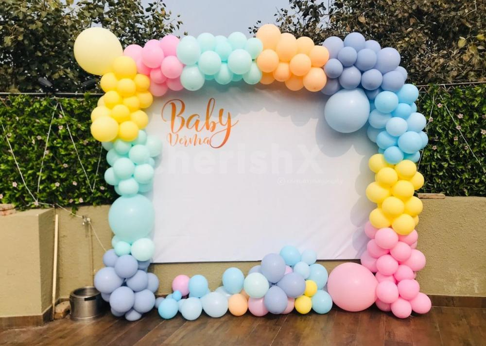 Pastel Color Balloon Customised Backdrop for Baby shower