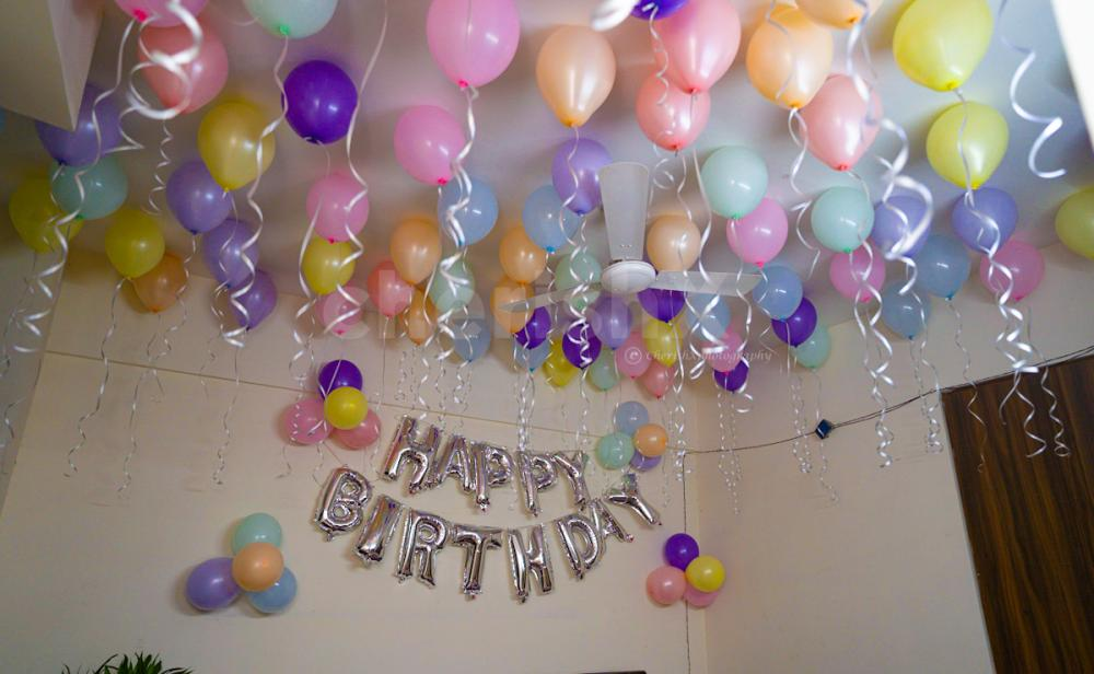 Pastel balloon decoration at home with all safety precaution and well trained team of professionals
