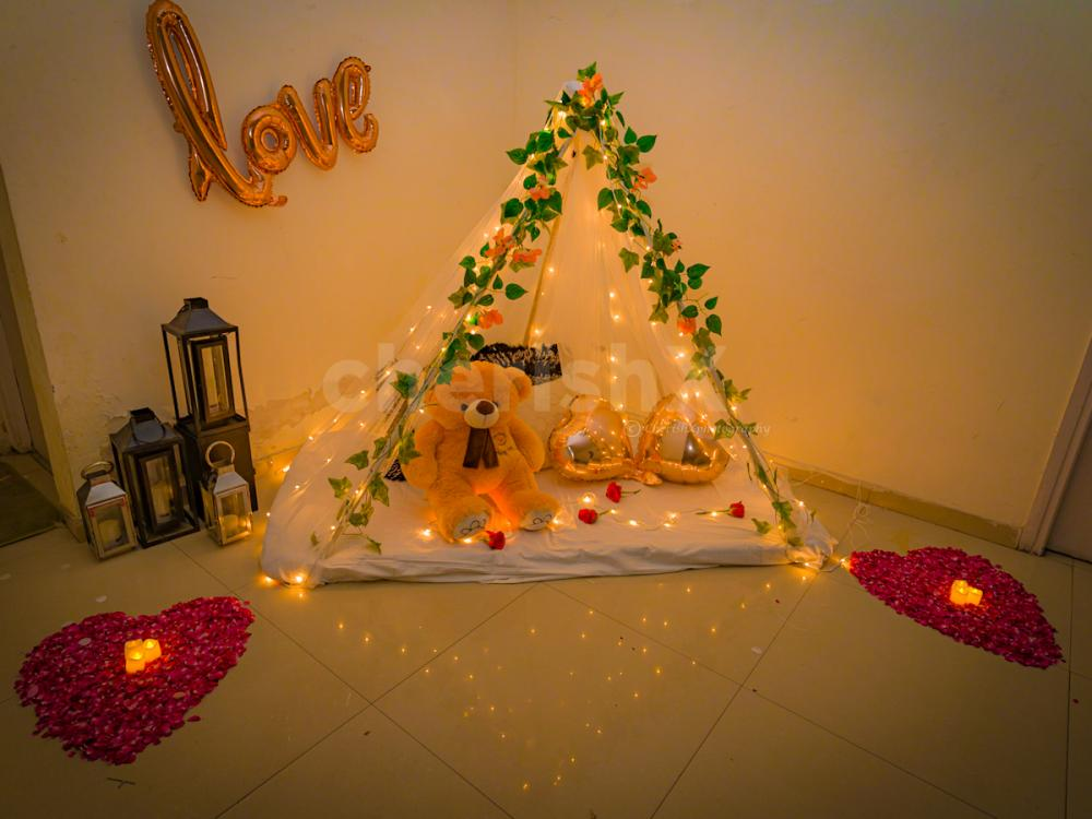 Cabana Canopy Setup at Home to surprise your special one.