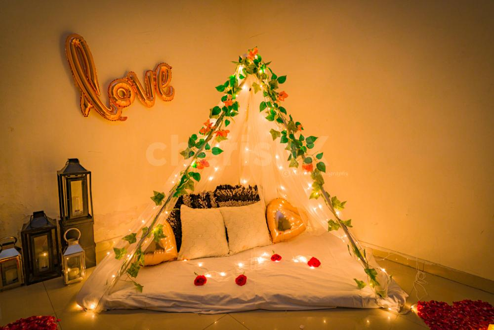 Romantic Date Night with Canopy setup at home.