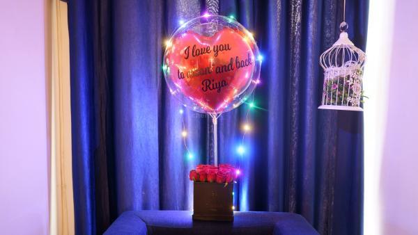 Rose Bucket with Love Bubble Balloon