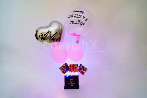 Gift this pictures bucket with a pink feather love bubble for your loved ones through cherishx