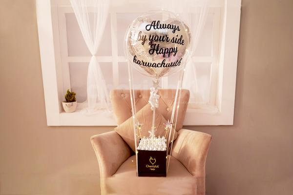 Classy Silver heart bucket with Kisses