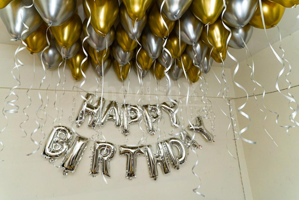 Classy Golden and silver chrome balloon decoration by Cherishx